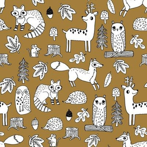 autumn animals // ochre kids autumn forest woodland fox owl deer raccoon acorn fall leaves autumn kids fabric