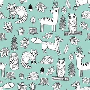 autumn animals // mint hedgehog raccoon fox owl deer leaves woodland forest autumn mint kids autumn animals