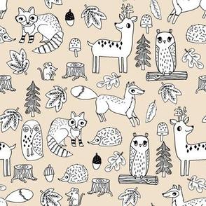 autumn animals woodland // off-white cream sand kids acorn owl deer fox raccoon owls acorns kids fall autumn