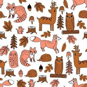 autumn animals // woodland forest kids acorns woodland log hedgehog autumn leaves brown peach coral kids cute autumn