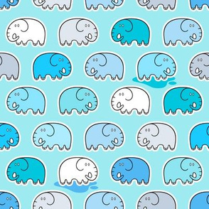 Cute happy baby elephants