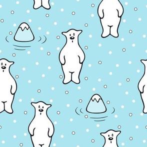 Cute Happy Polar Bear on blue