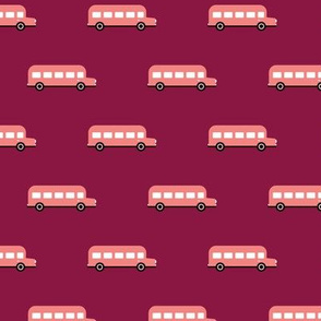 Sweet American school bus design for back to school fabric and fashion for kids pink