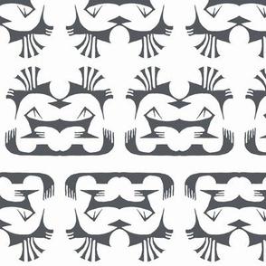 Island Tribal Print 2 Charcoal on White