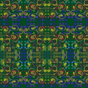 Mardi Gras Party - Dots, Spots and Swirls on Forest Green