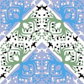 Counterchange Tree Bird Blue and Green Chevron