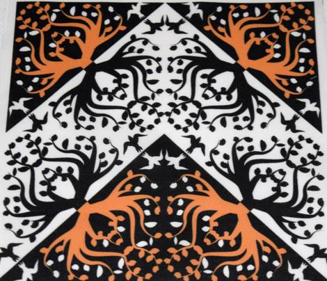 Counterchange Tree Bird Orange and Black Chevron