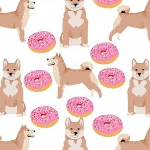 shiba inu dog donuts pink sprinkles cute dog fabric for dog owners japanese shiba inu fabric
