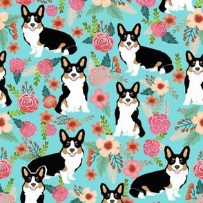 corgi cute black and tan welsh cardigan corgi with florals flowers cute painted floral design corgi lovers will adore this fabric