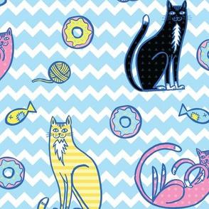 cats & donuts blue zig zag