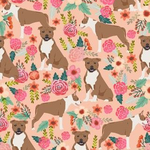 staffordshire terrier dog cute florals vintage flowers sweet dog dogs pet dog fabric peach