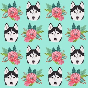 husky dog cute florals mint flower cute dogs dog pet dog fabrics for husky owners