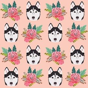 husky florals pink flower husky dog cute pet dog fabric for husky owners