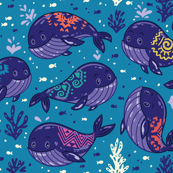 Cute tribal whales