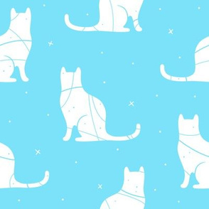 Cat Silhouette on bright blue