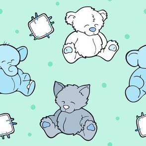Cuddly happy cute Teddy bear wolf and elephant