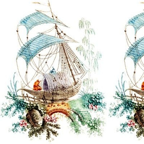 boats chinnoiserie oriental chinese asian flowers floral trees rivers rocks boulders antique vintage retro NAUTICAL TRANSPORTATION boatman lakes