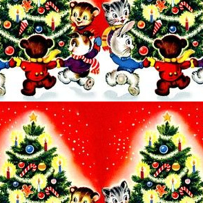 Merry Christmas winter snow trees cats rabbits hares bears dogs baubles ornaments stars candles candy canes gingerbread man dancing streamers vintage retro kitsch animals