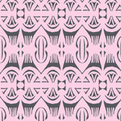 Tropical Drum Print Charcoal on Pink