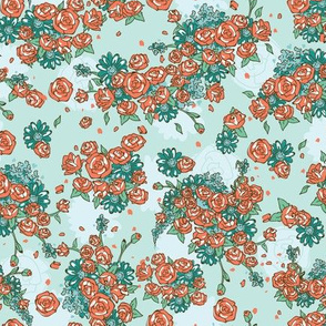 Delicate Floral - Retro Teal