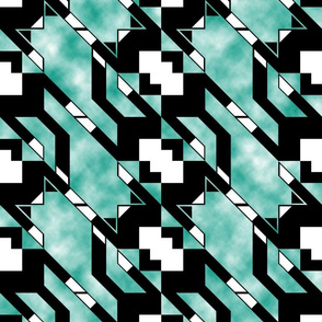 Houndstooth Flying Cat Diagonal Clouds