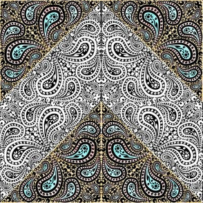 Half Color Counterchange Paisley Chevron
