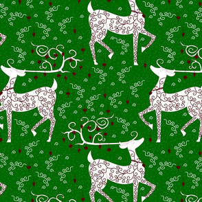 Christmas Reindeer on green lg