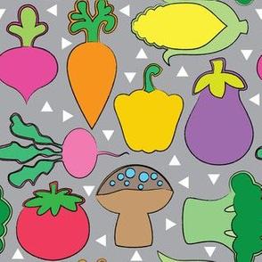 veggies on grey