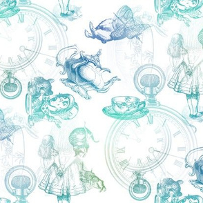 Alice in Wonderland Tea Party Blue Green