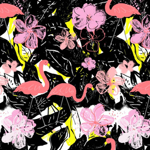 flamingo & tropical floral