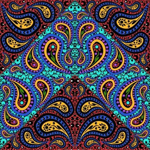 Bold Colored Counterchange Paisley Chevron