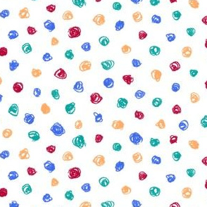 crayon polkadots - red, yellow, teal, blue