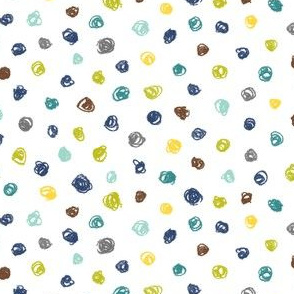 crayon polkadots - navy, grey, brown, teal, wasabi and yellow