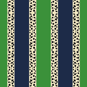 Cheetah Stripes VERTICAL- Kelly Navy