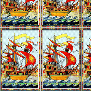 VINTAGE RETRO SHIPS NAUTICAL TRANSPORTATION SEA OCEAN SAILING BOATS WAVES CLOUDS VICTORIAN castles towns houses sun flags england leaves leaf border