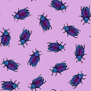 iridescent beetles on lavender
