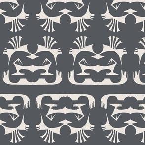 Island Tribal Print 2 Charcoal & Cream