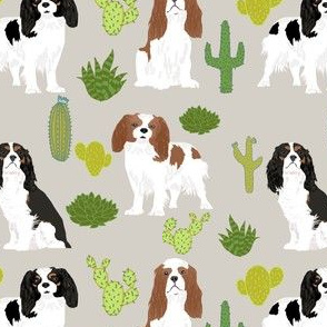 cavalier king charles spaniel dog with cute cactus trendy succulents dog fabric