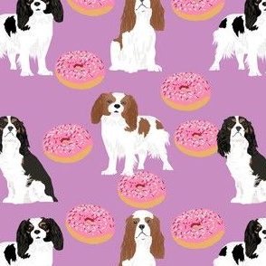 cavalier king charles spaniel dog dogs donuts purple cute pastel best dog fabric