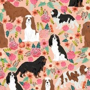 cavalier king charles spaniel dog florals flowers flower cute dog dogs pets vintage florals peach