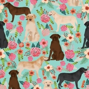 labrador florals mint cute dogs pet pets yellow lab yellow labrador chocolate labrador fabric black lab fabric for dog owners