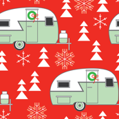 vintage christmas trailers on red