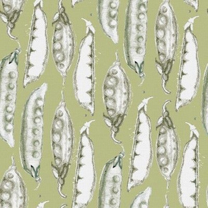 Hand drawn Peas on green_Miss Chiff Designs