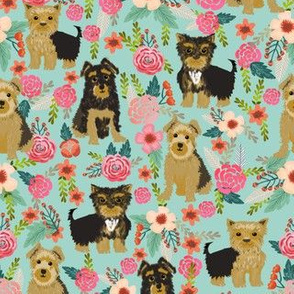 yorkshire terrier florals flower cute yorkie dog cute mint florals baby nursery sweet girls fabric for yorkie owners