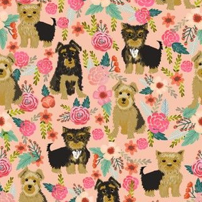 yorkshire terrier peach florals peach pink cute light pastels florals vintage flowers dog dog breed fabric cute dog design