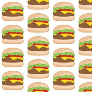 cheeseburgers on white