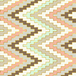 Railroaded Luxe Chevron // Mint Coral Gold Dust