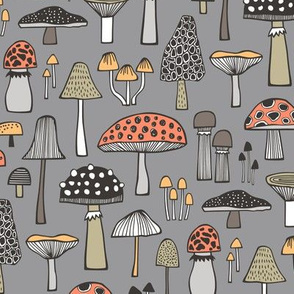 Mushrooms Fall Woodland Forest Doodle on Grey