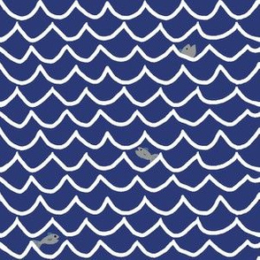 Wave Lines with Fish - Navy