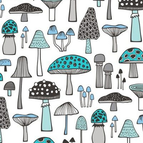 Mushrooms Fall Woodland Forest Doodle Black & White Aqua Blue
